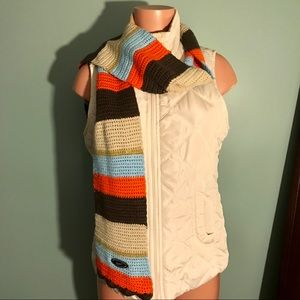 Nike Knitted Striped Crocheted Scarf Unisex